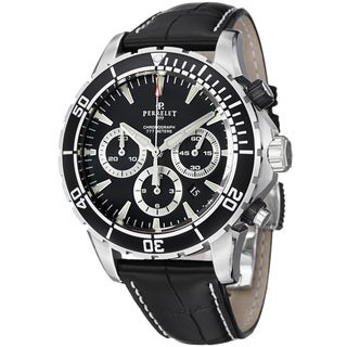 Perrelet Men's 'Seacraft' Black Dial Leather Strap Automatic Watch