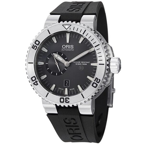 Oris Men's 743 7664 7253 RS 'TT1 Diver' Grey Dial Titanium Black Rubber Strap Watch