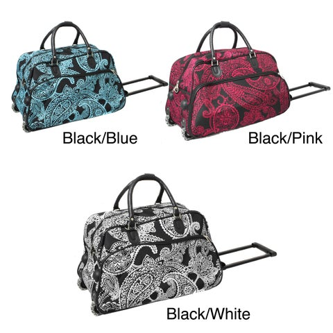 World Traveler Designer Prints Paisley 21-inch Carry-on Rolling Duffel Bag