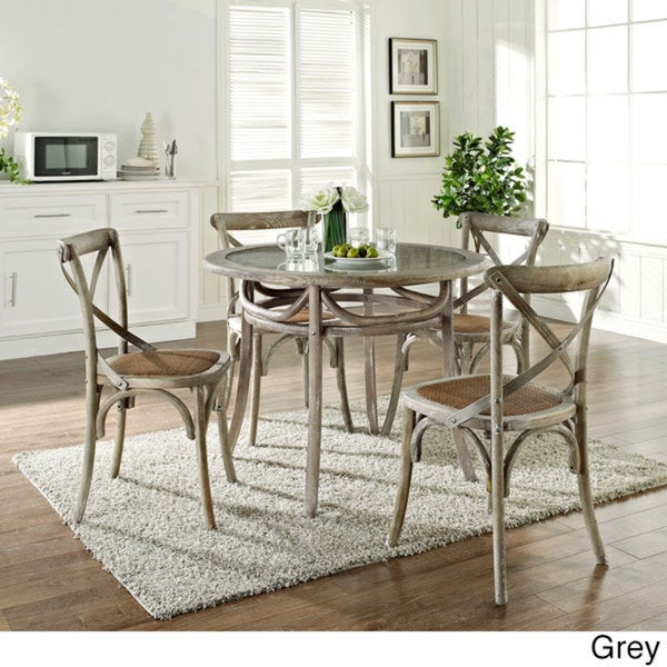 Gear Rustic Grey Country Wooden Chair and Table Dining Set