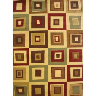 Squared Beige Area Rug (6'6 x 9'5)