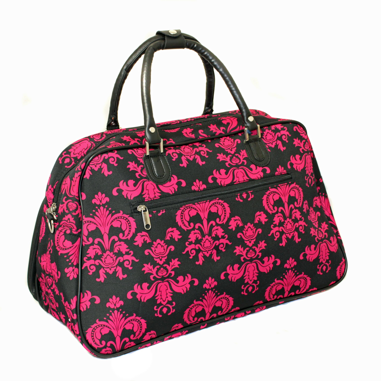 Polyester Pink Black Lightweight Duffel Bag 21inch Floral Pattern