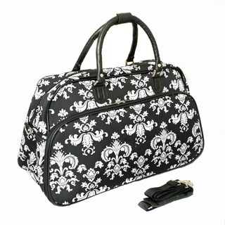 World Traveler Fashion/Travel Damask 21-inch Carry On Shoulder Tote Duffel Bag (Option: Black/white)