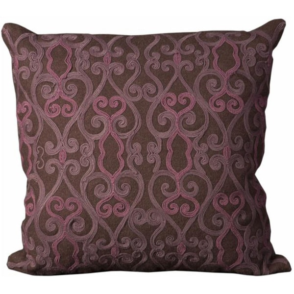 Mina Victory Felt Brown and Purple 20 x 20-inch Decorative Pillow by Nourison - Free Shipping ...