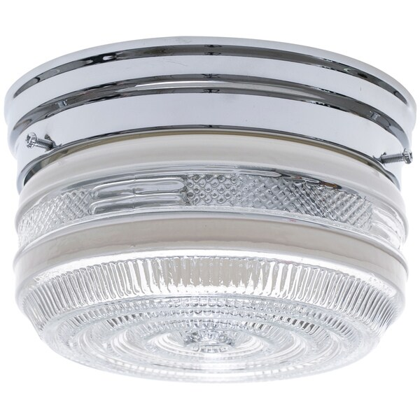 1-Light Chrome Clear Glass Flush Mount