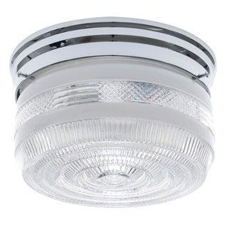 1-Light Chrome Clear Glass Flush Mount Fixture