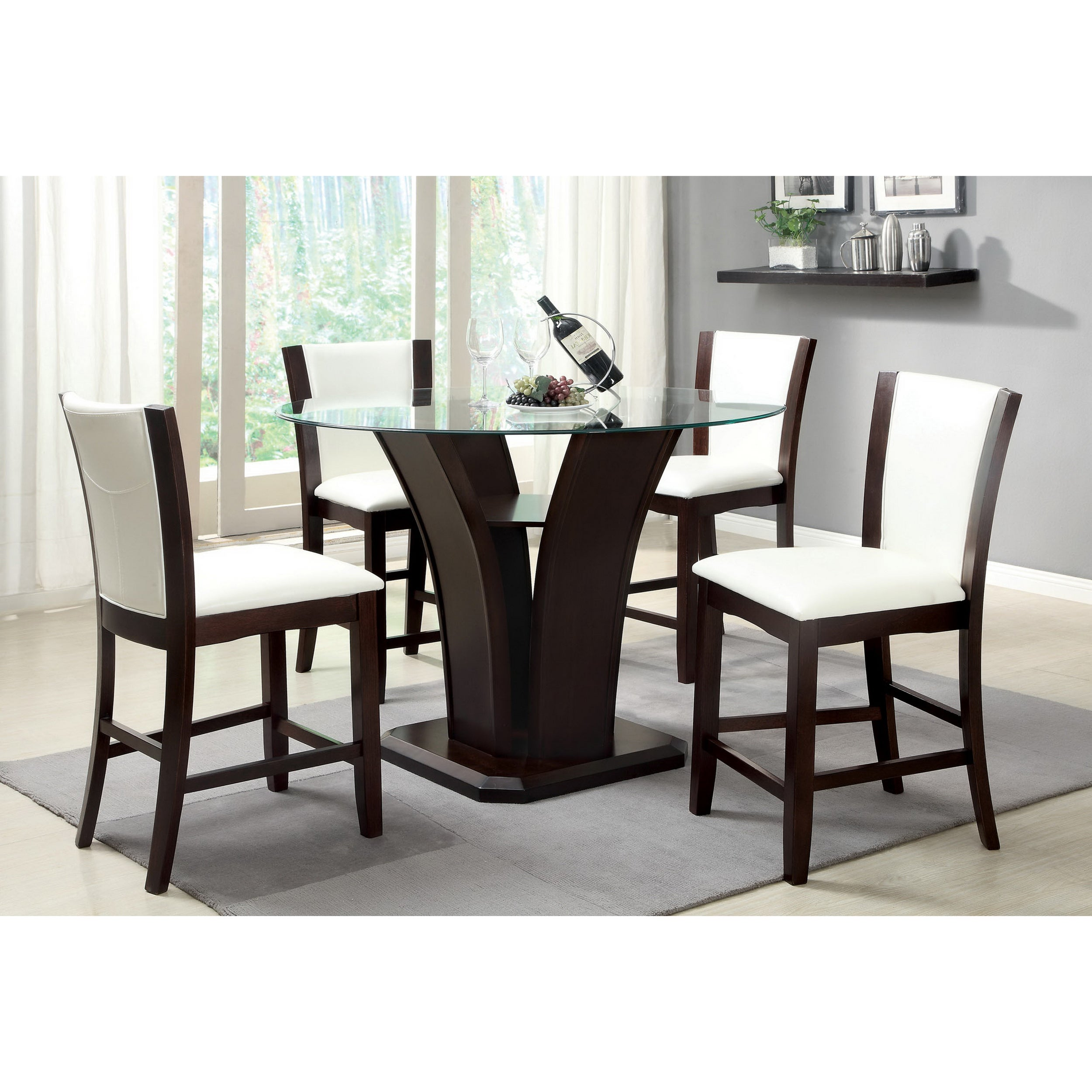 Furniture Of America Carlise Contemporary Round Counter Height Glass  5 Piece Dining Set