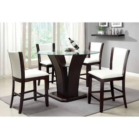 Copper Grove Antioch Contemporary Round Counter Height Glass 5-piece Dining Set