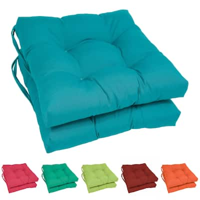 """Blazing Needles 16-inch Square Dining Chair Cushion (Set of 2) - 16"""" x 16"""""""
