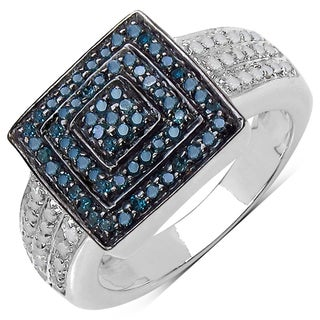 Sterling Silver 1/2ct TDW Blue and White Diamond Ring