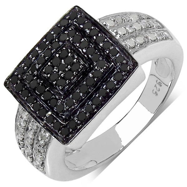 Sterling Silver 1/2ct TDW Black and White Diamond Ring (I-J, I3)