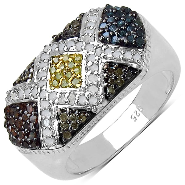 Sterling Silver 5/8ct TDW Multi-colored Diamond Ring (I-J, I3)