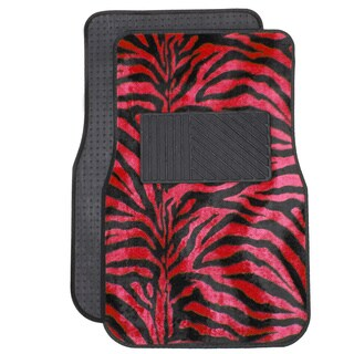 Oxgord Safari Zebra Red Car 4-piece Floor Mats