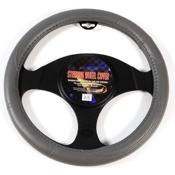 Hand Grip Leather Grey Steering Wheel Cover