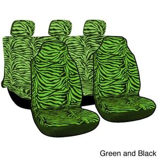 Oxgord Velour Zebra / Tiger Integrated Seat Covers 7-piece Set Striped Safari for High Back Bucket Seats