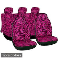 Oxgord Velour Zebra / Tiger Integrated Seat Covers 7-piece Set Striped Safari for High Back Bucket Seats