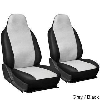 Oxgord Faux Leather Integrated High Back Bucket Seat Covers - Universal Fit for Cars, Trucks, SUVs and Vans (Option: Grey/Black)