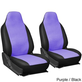 Oxgord Faux Leather Integrated High Back Bucket Seat Covers - Universal Fit for Cars, Trucks, SUVs and Vans (Option: Purple/Black)