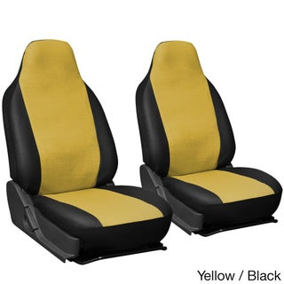 Oxgord Faux Leather Integrated High Back Bucket Seat Covers - Universal Fit for Cars, Trucks, SUVs and Vans (Option: Yellow/Black)