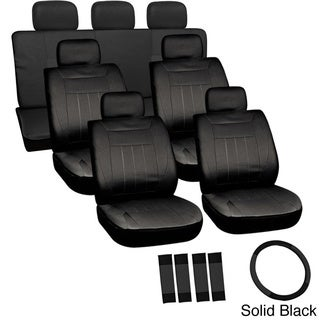 Oxgord Cloth / Mesh 17-Piece SUV Seat Covers Set for Sport Utility Vehicles with 3 Rows