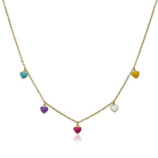 Little Miss Twin Stars Gold Overlay Children's Enamel Heart Charm Necklace