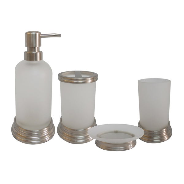 Misty Gl And Chrome Bath Accessory 4 Piece Set By Elegant Home Fashions