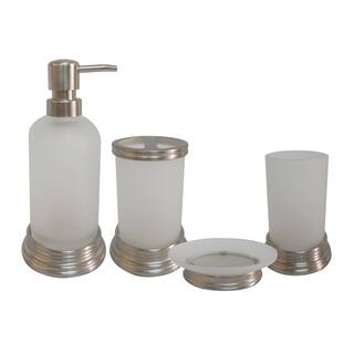 Misty Glass and Chrome Bath Accessory 4-piece Set by Elegant Home Fashions