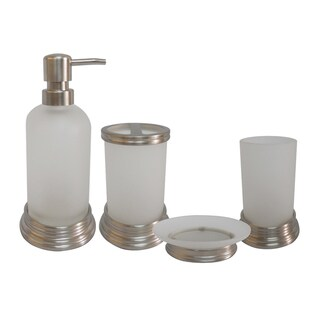 Misty Glass And Chrome Bath Accessory 4 Piece Set By Elegant Home Fashions