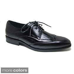 Delli Aldo Men's Patent Leatherette Wing Tip Designer Shoes