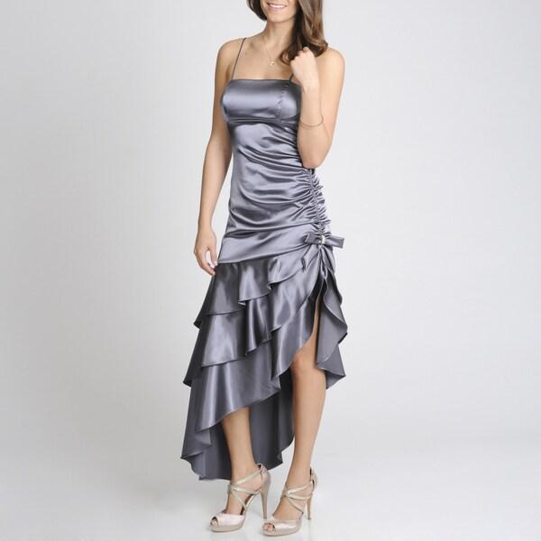 Blondie Nites Junior's Steel Asymmetrical Tiered Party Dress