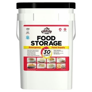 Augason Farms 3-Person 1-Year Emergency Food Storage Kit, 36 Pails - red/white