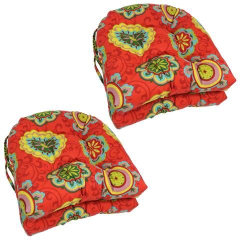 Blazing Needles 16-inch Indoor/Outdoor U-Shaped Chair Cushions Set (Set of 4) - 16 x 16