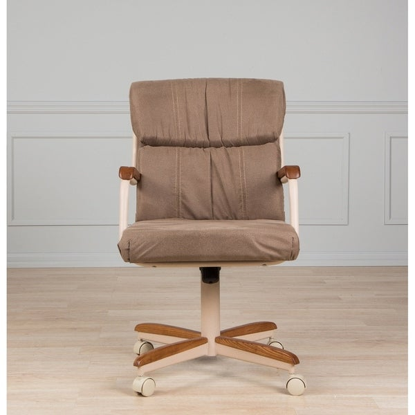Shop Casual Dining Brown Cushion Swivel And Tilt Rolling: Casual Dining Brown Cushion Wood/ Metal Rolling Caster