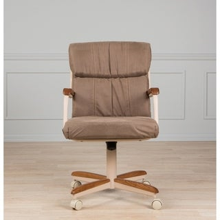 Casual Dining Brown Cushion Wood/ Metal Rolling Caster Chair