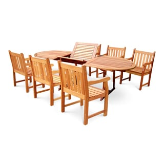 Hardwood Oval Extension Table and Armchair 7-piece Outdoor Dining Set