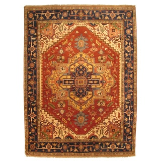 Hand-knotted Wool Rust Traditional Oriental Serapi Rug (9' x 12')