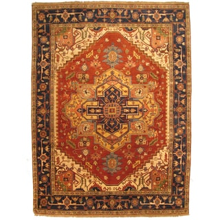 EORC Hand Knotted Wool Rust Serapi Rug (10' x 14')