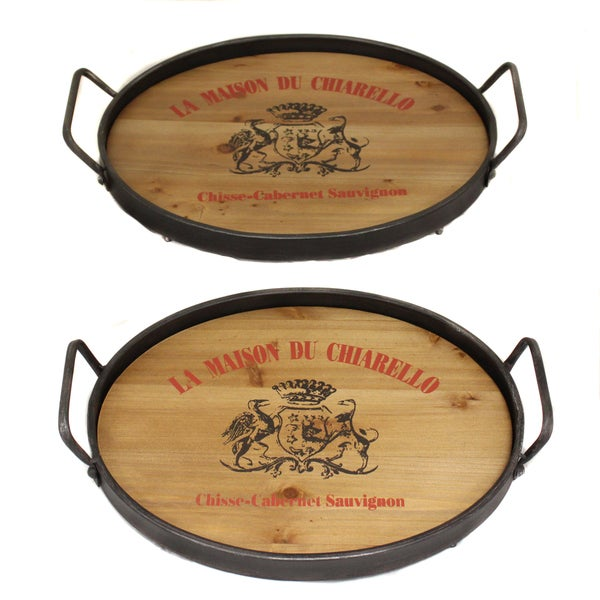 La maison du chiarello wood metal serving trays set of 2 for A la maison lotion