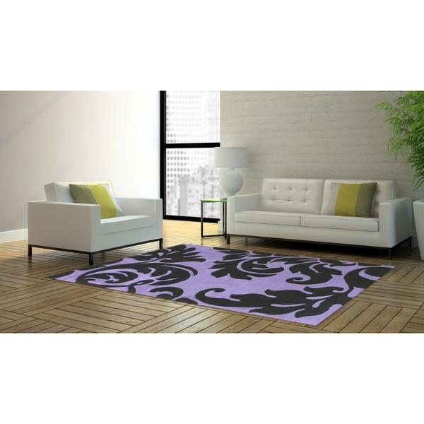 Alliyah Handmade Sabrina Purple Wool Rug - 9' x 12'