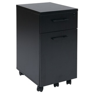 Prado Mobile Laminate File Cabinet with Metal Drawer Pulls and Hidden Box Drawer