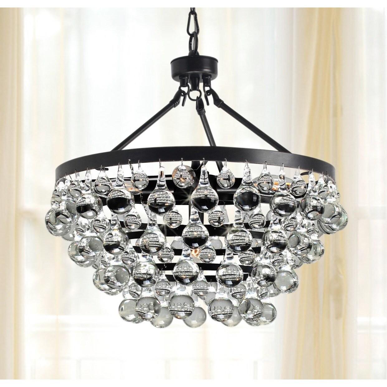 Antique Black 5 Light Crystal Drop Chandelier