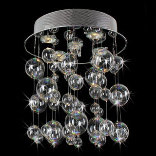Chrome Ceiling Mount Chandelier with Hand Blown Bubble Glasses