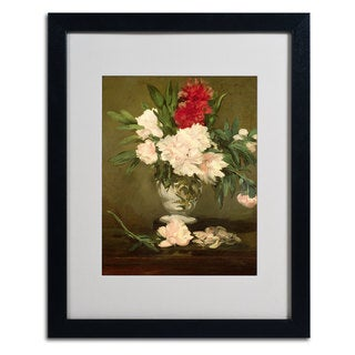 Edouard Manet 'Vase of Peonies' Framed Matted Giclee-Print Art