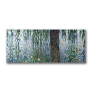 Claude Monet 'Waterlillies, Morning' Canvas Art - Multi