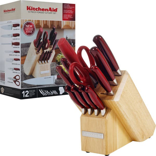 KitchenAid Candy Apple Red Forged Cutlery 12-piece Set