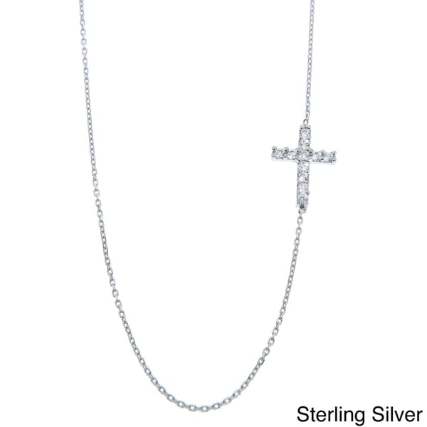 Eternally Haute Sterling Silver Cubic Zirconia Side Cross Necklace
