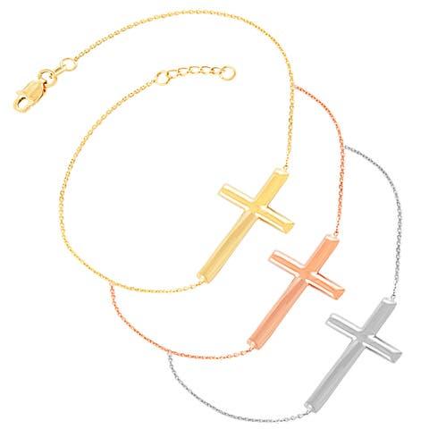 Fremada 14k Gold Sideways Cross Adjustable Bracelet (7.5 inch)