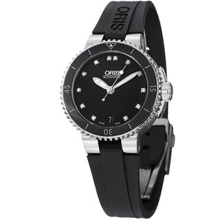 Oris Women's 'Divers' Black Diamond Dial Black Rubber Strap Watch