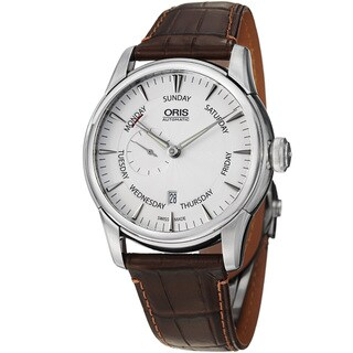 Oris Men's 'Artelier' Silver Dial Pointer Day Leather Strap Watch