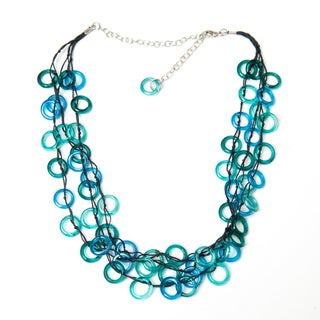 Handmade Aqua Rings Necklace (India)
